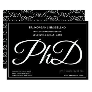 PhD degree Black Graduation Party Invitation