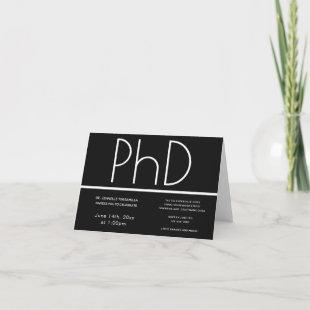 PhD degree Black White Folded Graduation Party Invitation