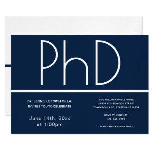 PhD degree Blue White Graduation Party Invitation