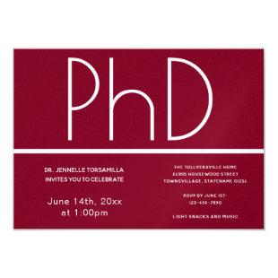 PhD degree Burgundy White Graduation Party Invitation