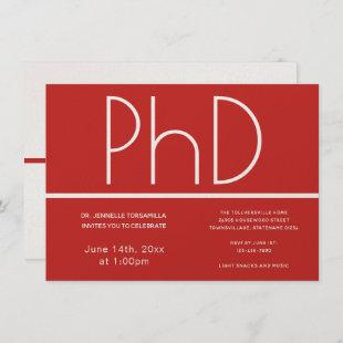 PhD degree Graduation Party Invitation