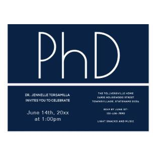PhD degree Graduation Party Invitation Blue Postcard