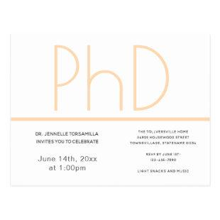 PhD degree Graduation Party Invitation White Postcard