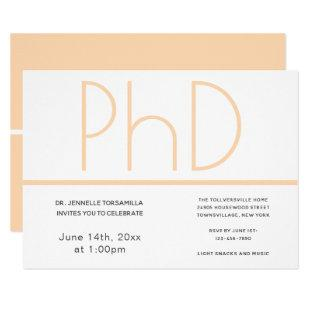 PhD degree White Cream Gray Graduation Party Invitation