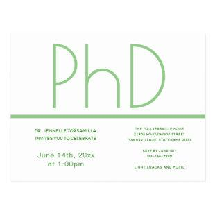 PhD degree White Green Graduation Party Postcard