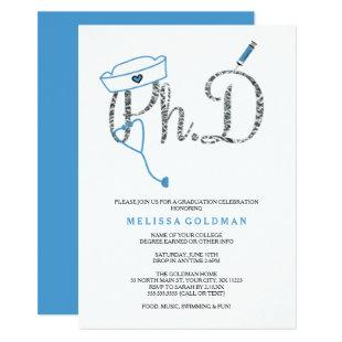 PhD Nurse graduation sky blue faux silver foil Invitation