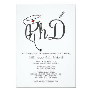 PhD Nursing nurse graduation invites simply stated