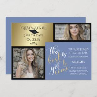 PHOTO 2 FRAME and CHOOSE YOUR COLOR Graduation Invitation
