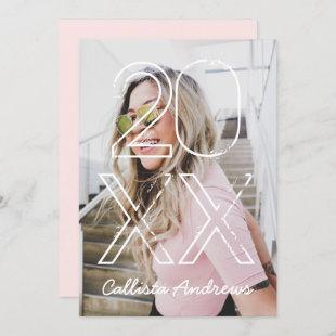 Photo and Year Simple Modern Pink Graduation Party Invitation