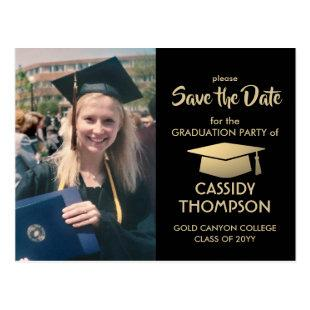 Photo Black & Gold Modern Graduation Save the Date Postcard