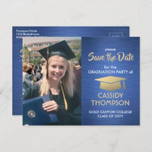 Photo Blue Gold and White Graduation Save the Date Postcard