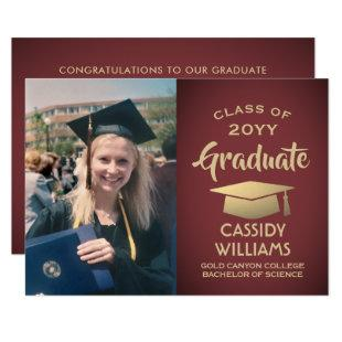 Photo Burgundy and Gold Elegant Modern Graduation Invitation