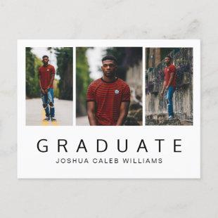 Photo Collage Minimalist Guy Graduation Announcement Postcard
