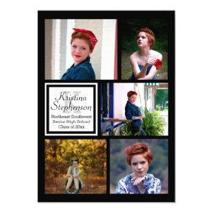 Photo Collage Monogram High School Graduation Invitation