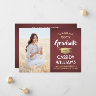Photo From Parents Burgundy and Gold Graduation Announcement