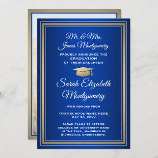 Photo From Parents Royal Blue and Gold Graduation Announcement