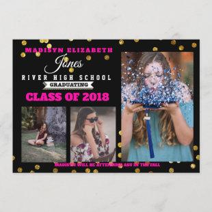 Photo Grad Announcement 4 photo Classic Hot Pink