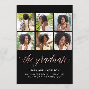 Photo Graduation Announcement Faux Rose Gold