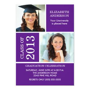 Photo Graduation Invitation ~Classy Purple & White