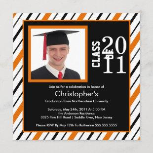 Photo Graduation Invitation Orange Black Stripes