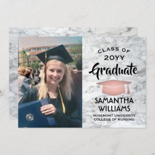 Photo Graduation Pink and Black Rose Gold Marble Invitation