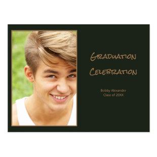 photo green gold casual masculine graduation party postcard