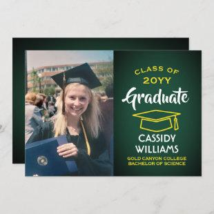 Photo Green Gold Yellow White Modern Graduation Invitation