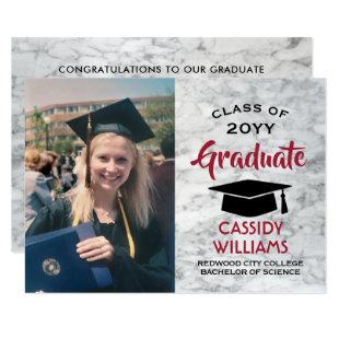 Photo Marble Red Black and White Modern Graduation Invitation