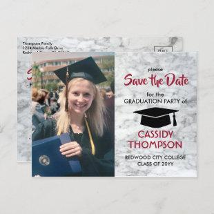 Photo Marble Red Black Graduation Save the Date Postcard