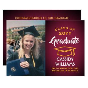 Photo Maroon Gold Burgundy Red Yellow Graduation Invitation