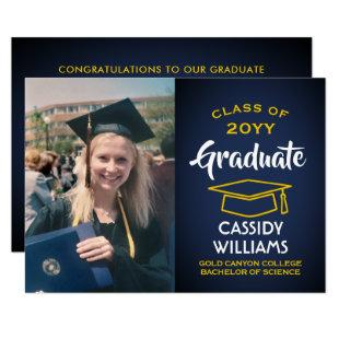 Photo Navy Blue Gold Yellow Modern Graduation Invitation