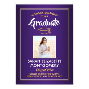 Photo Purple Gold Yellow White Modern Graduation Invitation