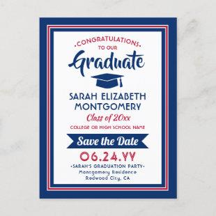 Photo Red White and Blue Graduation Save the Date Announcement Postcard