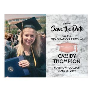 Photo Rose Gold & Marble Graduation Save the Date Postcard