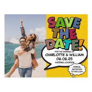 Photo Save the Date Fun Retro Comic Book Pop Art Postcard
