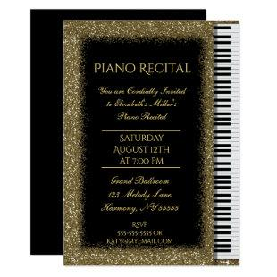 Piano Recital with Gold Glitter on Black Invitation