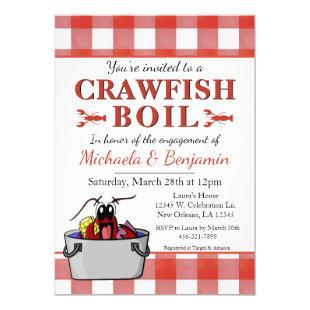 Picnic Crawfish Boil Lobster Party Engagement Red Invitation