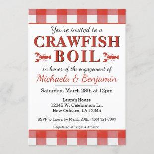 Picnic Crawfish Boil Seafood Party Engagement Red Invitation