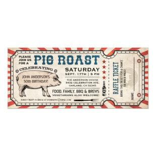 Pig Roast Invitations with Raffle Ticket