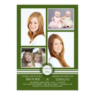 Pin Stripe Four Photo Graduation Invitation