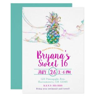 Pineapple Rainbow Color Splash Sweet 16 Party Invitation