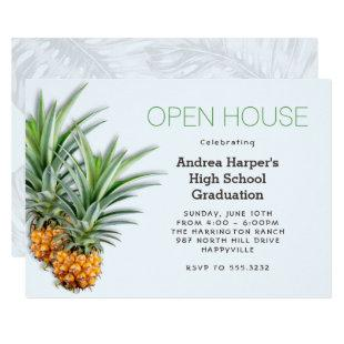 Pineapples Hawaiian School Graduation Open House Invitation