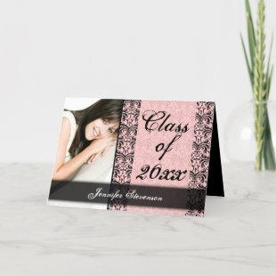 Pink and Black Damask Chic Graduation Annoncement Invitation
