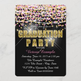 Pink and Gold Confetti Glitter Graduation Party