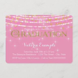 Pink and Gold Confetti Graduation Announcement