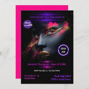 Pink and Gold Neon Glow Graduation Party Invitation