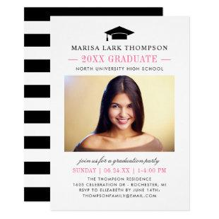 Pink Black and White | Chic Photo Graduation Party Invitation