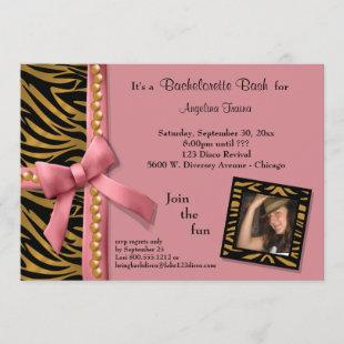 Pink Bow With Gold Pearls And Zebra Stripes Invitation