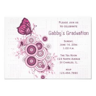 Pink Butterfly Graduation Party Invitation