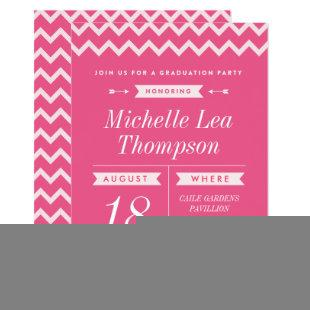 Pink Chevron Stylish Graduation Party Invitations